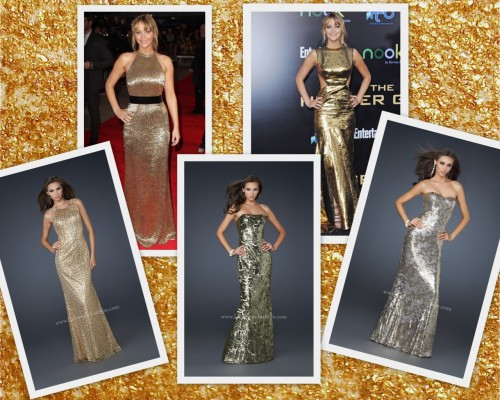 Jennifer Lawrence in Gold at the Hunger Games world premiere's. Get her look with La Femme styles 17155, 17480 and 17454!