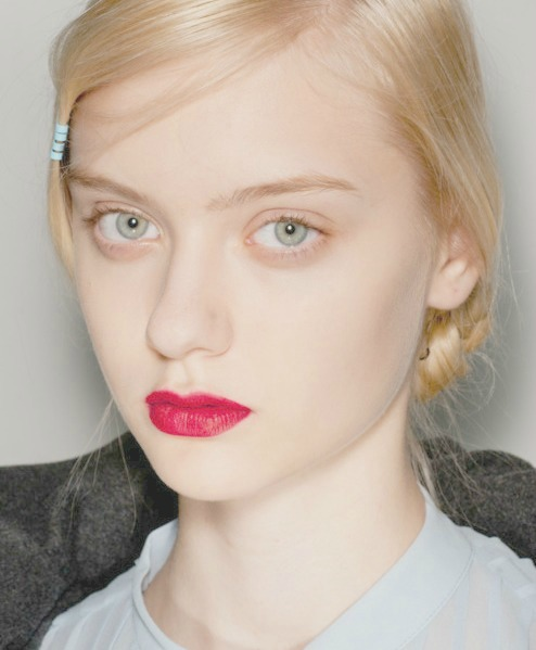 Nastya Kusakina backstage at Cacharel Fall 2012