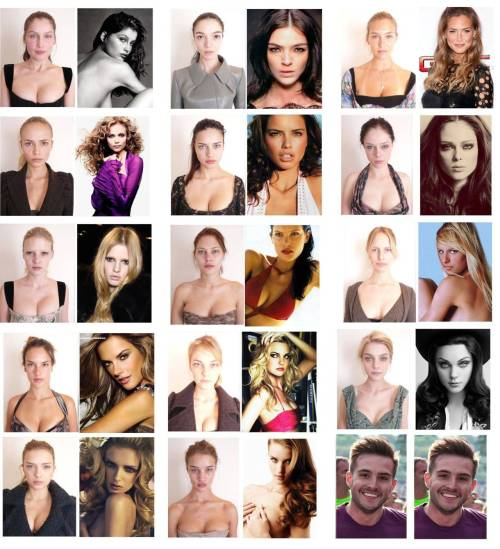 "Just a reminder, good models look weeeirrd  solsticeretouch:  Supermodels Without Makeup Before anything, if you want to see a bigger image, click here. It goes to show that without makeup, hair, lighting, photography, and retouching, these women at their core still look beautiful. The take away message is that often, women have a negative self esteem from what they see in the media. Realistically these 'perfect' women look exactly like the women who have the negative self esteem.  Oh, I can hear it now. ""Who's that guy?"" It's photogenic guy, the recent famous meme going around right now."