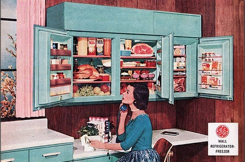 1950sunlimited:  GE Refrigerator Freezer  detail from Better Homes and Garden ad
