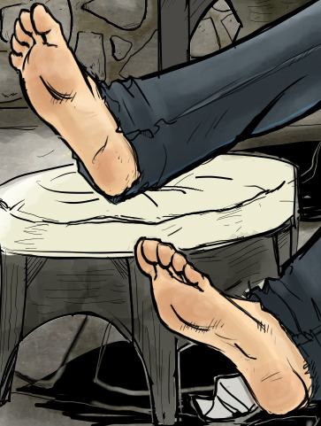 The epic saga of drawing Mr. Ammo's feet continues.