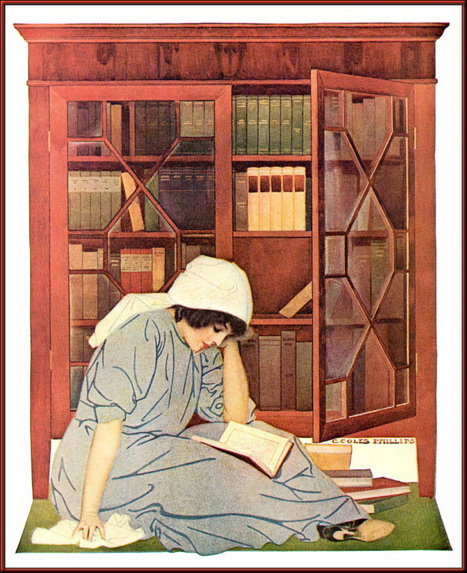 "Illustration based on Life Magazine cover (June 8, 1911) ""The Lure of Books.""  C. Coles Phillips (American illustrator, 1880-1927).  Phillips is known for his stylish images of women and a signature use of negative space in his designs."