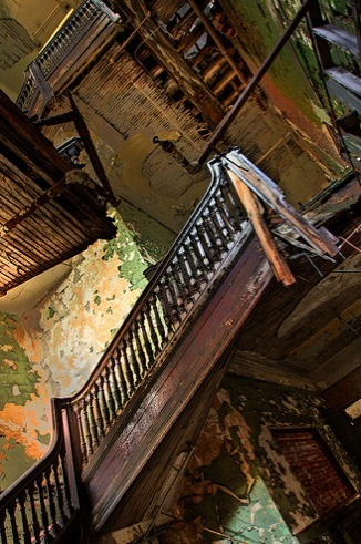 ominousplaces:  Broken stairs, by Jonathon Much.