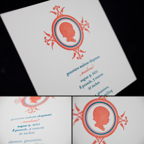 Personalized Baby Girl Letterpress Birth Announcements | Eco-friendly letterpress inspiration | Smock @smockpaper.com