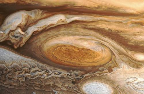 The Great Red Spot is larger than the Earth.