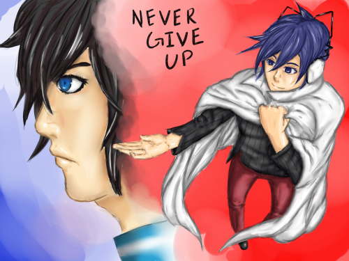 phew, my first real try at Sai. Based off of the Devil survivor protagonists, I just kinda wanted to draw them encouraging each other. =)