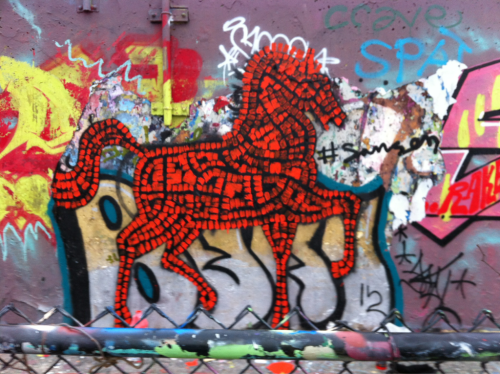 """Horse-gift to Ilium"" 2012 spray paint & acrylic on wall"