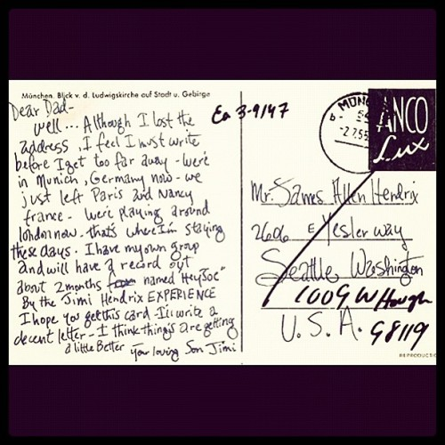 Letter from jimi hendrix to his dad - @dman303- #webstagram