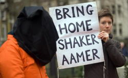 "Shaker Aamer is a Saudi Arabian citizen and the last British resident held by the United States in the Guantanamo Bay detention camps, in Cuba. He was captured in Jalalabad, Afghanistan, on 24 November 2001 and was brought to Guantánamo on 14 February 2002, where he has now been held for 10 years, 1 month and 24 days. According to documents published in the Guantanamo Bay files leak, the US military Joint Task Force Guantanamo believed in November 2007 that Aamer had led a unit of fighters in Afghanistan, including the Battle of Tora Bora, while his family was paid a stipend by Osama bin Laden. The file asserts past associations with Richard Reid and Zacarias Moussaoui. Clive Stafford Smith a human rights lawyer said the leaked documents would not stand up in court. He pointed out that part of the evidence comes from an unreliable witness and that confessions Aamer made had been obtained through torture. Mr Aamer's father-in-law, Saaed Ahmed Siddique, said: ""All of these claims have no basis. If any of this was true he would be in a court now."" The Bush administration acknowledged later that it had no evidence against Aamer. Aamer has never been charged with any wrongdoing and has never received a trial and his lawyer says he is ""totally innocent"". He has been cleared for release by the Bush administration in 2007, and the Obama administration in 2009, but Aamer remains in Guantánamo. He has been described as a charismatic leader who spoke up and fought for the rights of fellow prisoners and some have speculated that this might be a reason for his continued detention. Aamer alleges that he has been subject to torture while in detention. Mr. Aamer's mental and physical health has been declining over the years, as he has participated in hunger strikes to protest detention condition and spent much of his time held in solitary confinement. He has lost 40 per cent of his body weight in captivity. After a visit in November 2011 Clive Stafford Smith said: ""I do not think it is stretching matters to say that he is gradually dying in Guantanamo Bay."" The UK government has been demanding his release for years and a growing number of people from all walks of life have started campaigning for him. (via)"