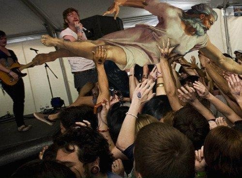 alexannosaurus:  Here's an old picture of God stage diving at an Emarosa show. Shout out to Jonny Craig for being in the band at that time.