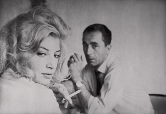 La Notte, 1960. Monica Vitti and Michelangelo Antonioni photographed by Gianfranco Moroldo