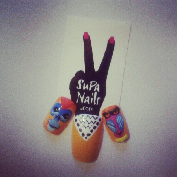 Monkey Business Testing new styles #Monkey #nails #nailart #supanails #monkeys #cute #orange #white #blue #style #test (instagram)