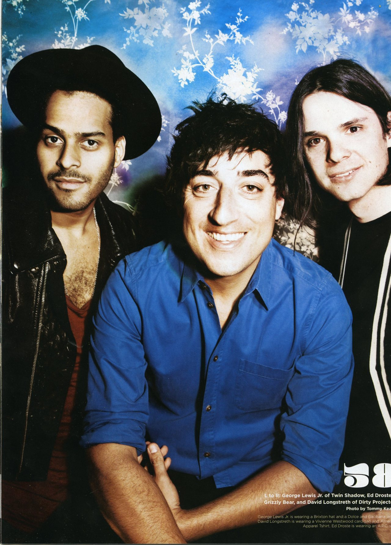 George Lewis (Twin Shadow), Ed Droste (Grizzly Bear) & Dave Longstreth (Dirty Projectors) in Under the Radar Magazine, May 2012 issue