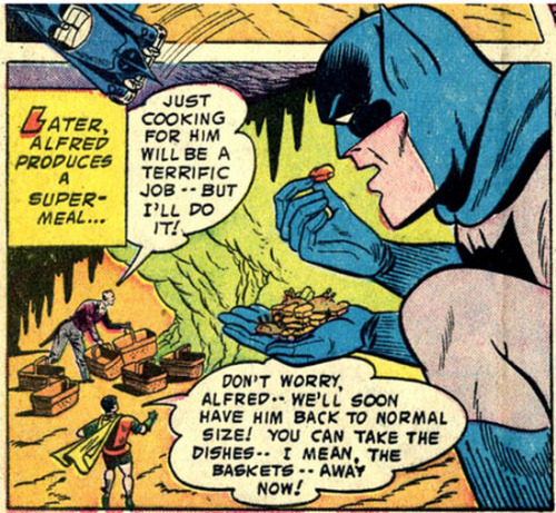 (via Bully Says: Comics Oughta Be Fun!)  Panels from Detective Comics #243 (May 1957), script by Edmond Hamilton, pencils by Dick Sprang, inks by Charles Paris