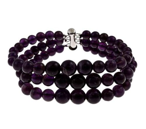 purple bead amethyst 3-row journey bracelet