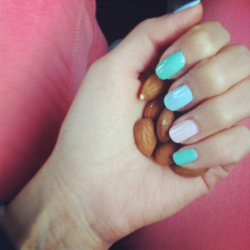 Handful o' almonds. And my Easter pastel nails. <3