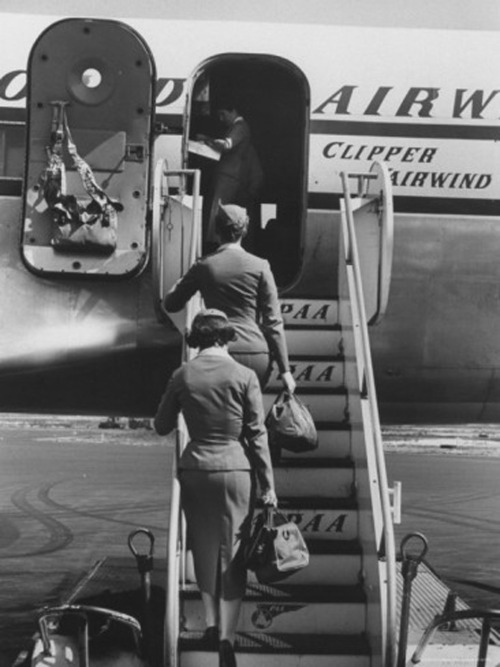 Stewardesses boarding flight Photo by Peter Stackpole
