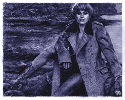"A drawing by Jesse Hamm of Joanna Lumley, as ""Purdey."""