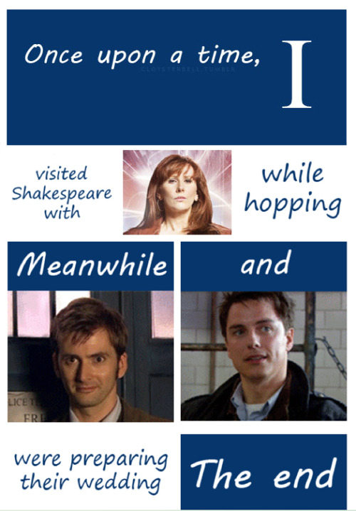 Once upon a time, I visited Shakespeare with Donna Noble while hopping. Meanwhile, the Doctor and Captain Jack Harkness were preparing their wedding. This is slightly more acceptable! (It's addictive)