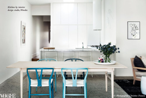 Melbourne interior design studio Wonder transformed a tired 1980s kitchen attached to a Victorian terrace into a contemporary light-filled entertaining space. From 'Art of Entertaining', a story on page 152 of Vogue Living Before+After 2012, on news stands and Zinio now. Photograph by Christine Francis.