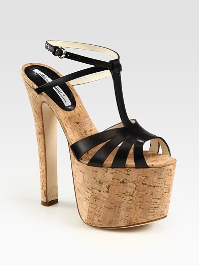 Brian Atwood Fio Leather T-Strap Cork Platform Sandals