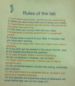 quantumaniac:  Rules of the Lab
