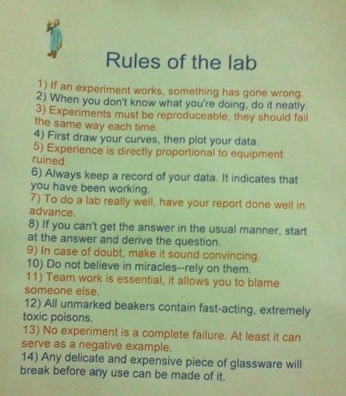 jtotheizzoe:  quantumaniac:  Rules of the Lab  #8 is used far more than anyone wants to admit.