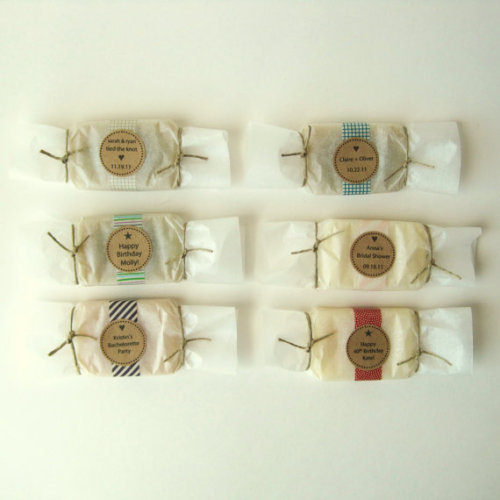 These organic hand soap wrapped in pretty paper and a personalized label make great party favors for a bridal shower or baby shower!  Super cute and thoughtful.  Love the packaging on these!