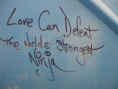 pandorasmusings:  Burning Man Quote: Love can defeat the world's strongest ninja.