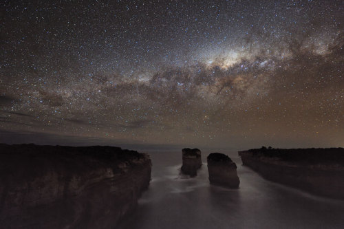 space-nshit:  The Milky Way over Loch Ard Gorge.