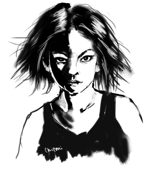 black and white doodle 4-5-12. With default PSCS5 chalk brush w/o opacity controls.