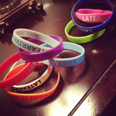 LateArrivalApparel.com our new wristbands! Go check out our website