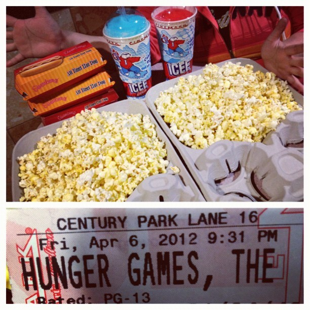 Hunger games finally! With $30 worth of popcorn & hotdogs! Lol. (Taken with instagram)