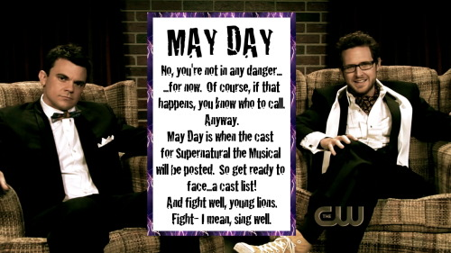 supernaturalmusical:  Announcement!