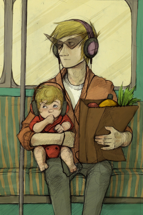 norhuu:  Dirk and Dave on the bus after going grocery shopping. I can't stop it, I'm addicted to these two like this. >.<