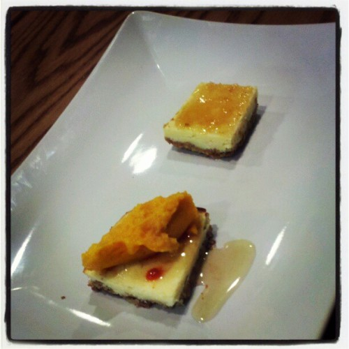 Cheesecake, sriracha, carrot puree. Cheesecake, leatherwood honey, black truffle oil. (Taken with Instagram at The Owl)