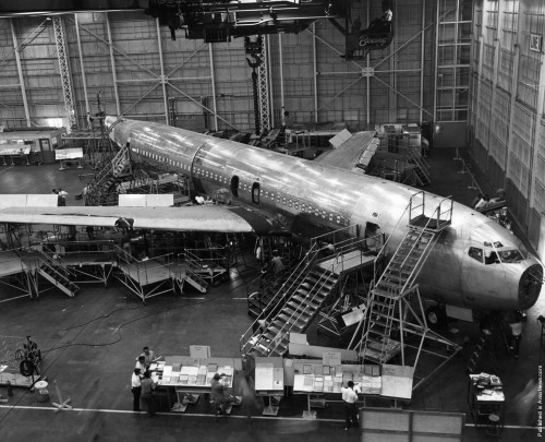 The Boeing 707 Jet Stratoliner Number One under construction at Boeing's Transport Division in Renton, Washington, ca 1958.