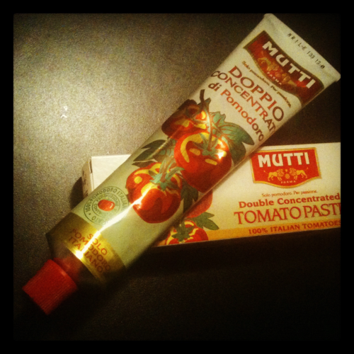 Tomato paste in a tube! Leslie introduced me to this tomato paste from Whole Foods and I wasn't really sure how I was going to use it (aside from the traditional ways) but I am always interested in trying new things. What I have been using it for is adding it into my ground beef, buffalo, or turkey while I am cooking it. It adds a great flavour and keeps the meat moist.