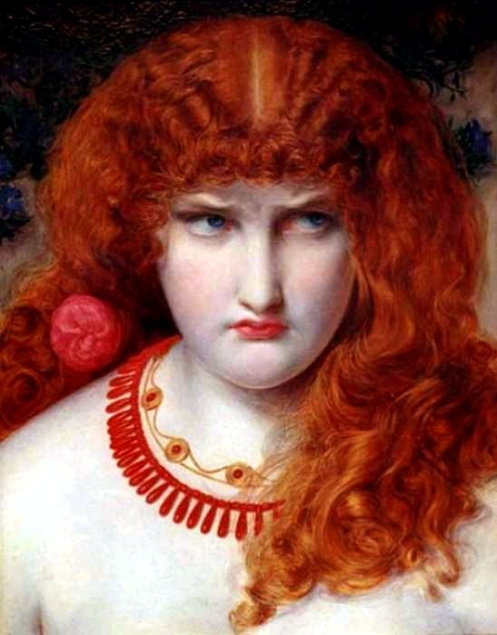 Helen of Troy  Frederick Sandys (1829 - 1904) was actually born Antonio Frederic Augustus Sands.    I particularly like this because, although one doesn't expect petulance from a legendary lady like Helen of Troy, but when I think about it … well, duh! :)