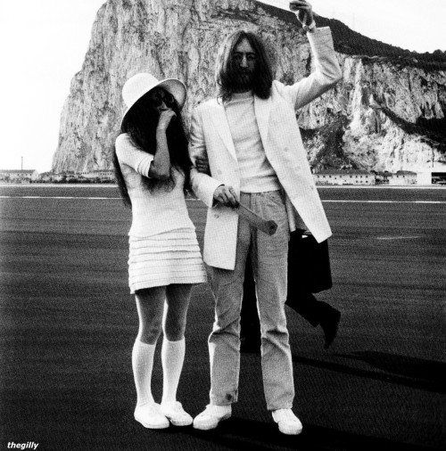 John and Yoko in Gibraltar on their Wedding Day, 20 March 1969
