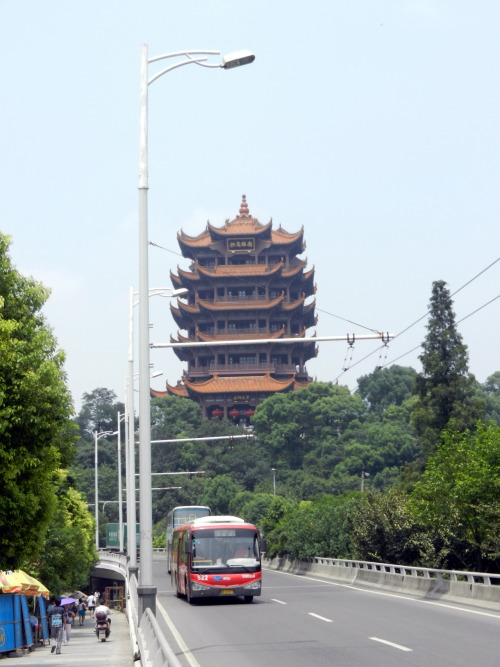 Street view of Yellow Crane Tower in Wuhan, China