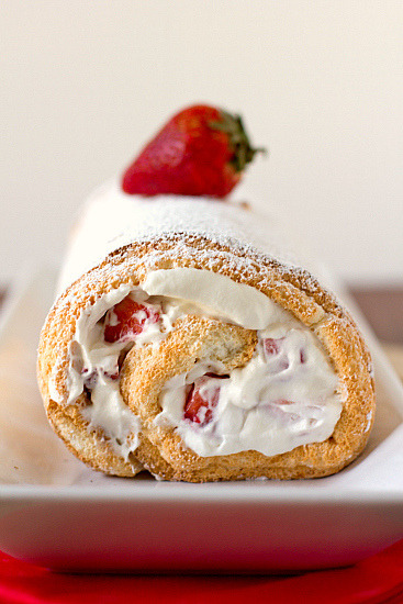 clottedcreamscone:  Strawberries & Cream Angel Food Cake Roll by Brown Eyed Baker on Flickr.