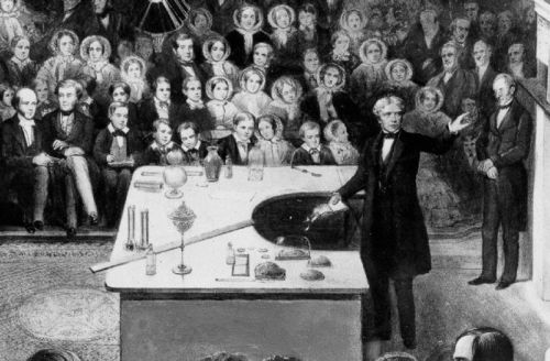"expose-the-light:  Michael Faraday Michael Faraday (1791–1867) delivering the 1856 Christmas Lecture at the Royal Institution     Freaking love Michael faraday!!! I actually have a poster in my locker that says if Michael faraday can revolutionize the study of electricity without any ""proper"" training YOU can get through today!"