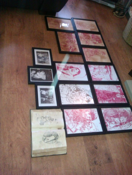 Amy's work all framed and ready for the show on Friday