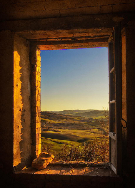 Sunset Window, Tuscany, Italy photo via andyouwhisper