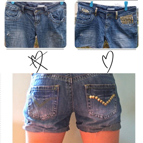 DIY Studded Denim Jeans. One of the best parts of this is that is no-sew, and that she lines the inside of the shorts where the pins from the studs are sure to touch your skin - not many tutorials mention this! Tutorial from Clones & Clowns here.