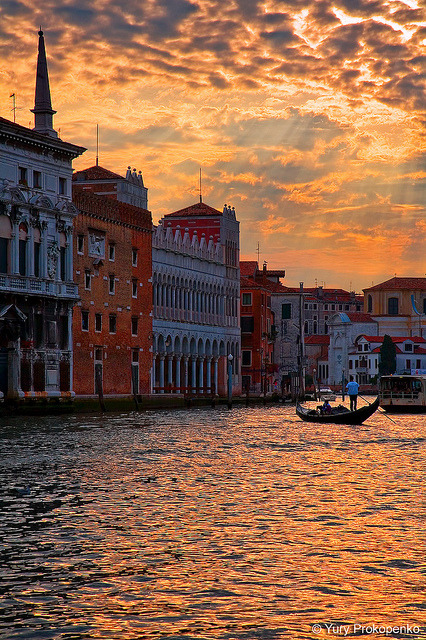 Sunset over Grand Canal, Venice, Italy by -yury- on Flickr.