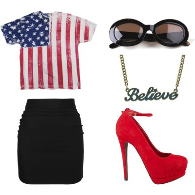 fashion-my-way:  Allover American; Belive by nileve featuring vintage shades  Paul frank t shirt, $23D G knee length pencil skirt, £70Steve Madden platform pumps, $110Disney couture jewelry, £20House of Harlow 1960 vintage shades, $110