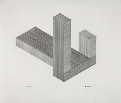 "mattniebuhrdrawings:  untitled (cubic forms)2012_02_22 graphite on paper 11"" x 14"" (27.9 x 35.6)cm Matt Niebuhr www.mattniebuhr.com See this and others available here  Thanks!  Happy to be sending this out soon to a private collection Thank-you!"