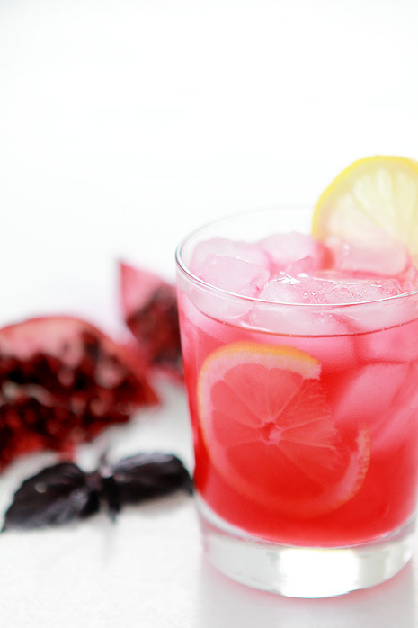 gastrogirl:  pomegranate and purple basil gin smash.